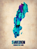 Sweden Watercolor Poster Plastic Sign by  NaxArt