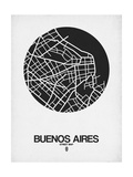 Buenos Aires Street Map Black on White Arte por  NaxArt