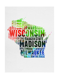 Wisconsin Watercolor Word Cloud Posters by  NaxArt