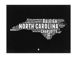 North Carolina Black and White Map Prints by  NaxArt