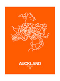 Auckland Street Map Orange Art by  NaxArt