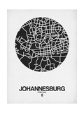 Johannesburg Street Map Black on White Plakater af NaxArt