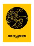 Rio de Janeiro Street Map Yellow Print by  NaxArt