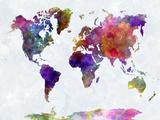 World Map in Watercolorpurple and Blue Schilderijen van  paulrommer