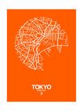 Tokyo Street Map Orange Affiche par  NaxArt