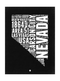 Nevada Black and White Map Art by  NaxArt