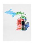 Michigan Watercolor Word Cloud Prints by  NaxArt