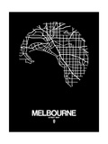 Melbourne Street Map Black Posters by  NaxArt