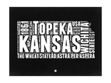 Kansas Black and White Map Print by  NaxArt