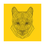 Mountain Lion Yellow Mesh Art by Lisa Kroll