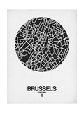 Brussels Street Map Black on White Prints by  NaxArt