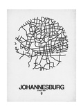 Johannesburg Street Map White Posters by  NaxArt