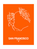 San Francisco Street Map Orange Prints by  NaxArt