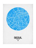 Seoul Street Map Blue Poster by  NaxArt