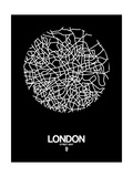 London Street Map Black Poster di  NaxArt