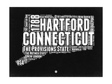 Connecticut Black and White Map Prints by  NaxArt