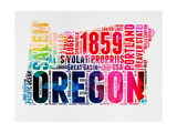 Oregon Watercolor Word Cloud Prints by  NaxArt