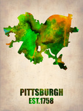 Pittsburgh Watercolor Map Plastic Sign by  NaxArt
