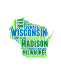Wisconsin Word Cloud Map Posters by  NaxArt