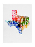 Texas Watercolor Word Cloud Prints by  NaxArt