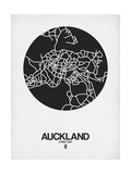 Auckland Street Map Black on White Poster by  NaxArt