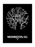 Washington, D.C. Street Map Black Poster by  NaxArt