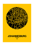 Johannesburg Street Map Yellow Plakater af NaxArt