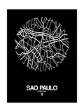 Sao Paulo Street Map Black Art by  NaxArt