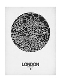London Street Map Black on White Stampa di  NaxArt