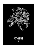Athens Street Map Black Prints by  NaxArt