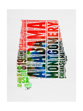 Alabama Watercolor Word Cloud Poster by  NaxArt
