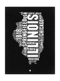 Illinois Black and White Map Posters by  NaxArt