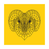 Ram Head Yellow Mesh Print by Lisa Kroll
