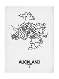 Auckland Street Map White Prints by  NaxArt