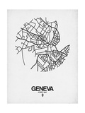 Geneva Street Map White Posters by  NaxArt