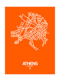 Athens Street Map Orange Poster af  NaxArt