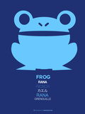 Blue Frog Multilingual Poster Plastic Sign by  NaxArt