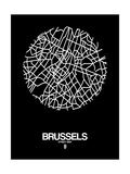 Brussels Street Map Black Print by  NaxArt