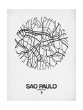 Sao Paulo Street Map White Posters by  NaxArt