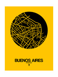 Buenos Aires Street Map Yellow Prints by  NaxArt