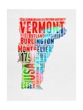 Vermont Watercolor Word Cloud Prints by  NaxArt