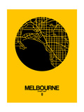 Melbourne Street Map Yellow Print by  NaxArt