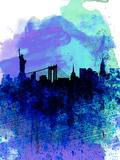 New York Watercolor Skyline 2 Plastic Sign by  NaxArt