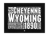 Wyoming Black and White Map Prints by  NaxArt