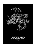 Auckland Street Map Black Posters by  NaxArt