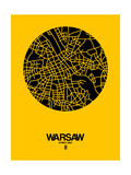 Warsaw Street Map Yellow Prints by  NaxArt