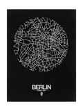 NaxArt - Berlin Street Map Black - Poster