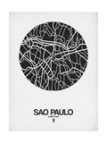 Sao Paulo Street Map Black on White Posters por NaxArt
