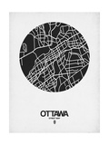 Ottawa Street Map Black on White Posters by  NaxArt