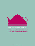 Tea Poster Pink Plastic Sign by  NaxArt